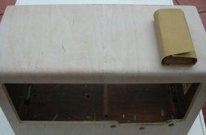 sand dopn veneer radio wood case