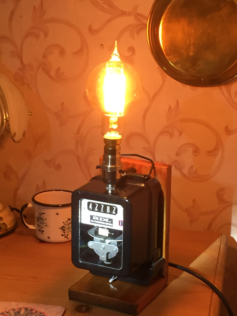 Steampunk electricity meter lamp