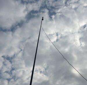 Mini-Whip atop the 16 foot fibreglass pole