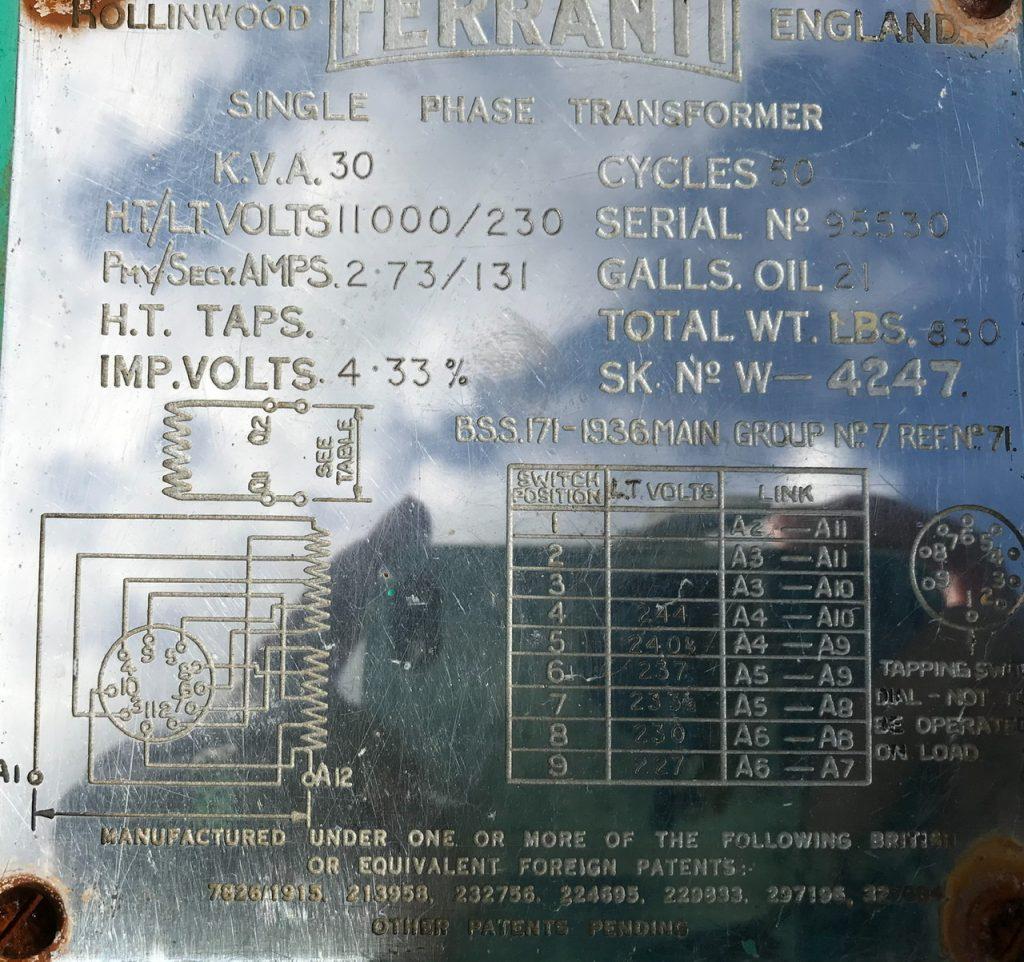 11kV Transformer plate