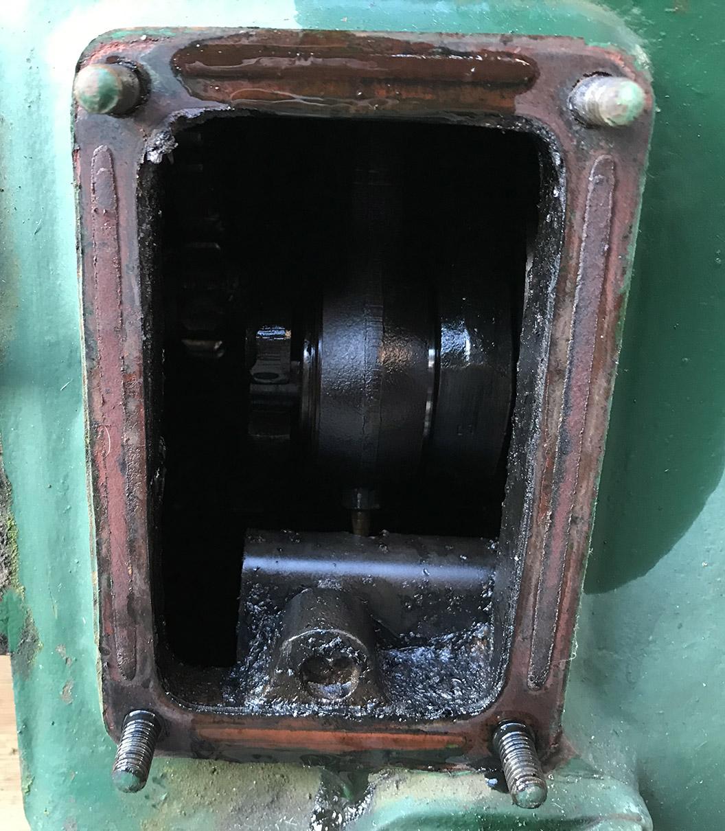 Lister D engine crank case door removed