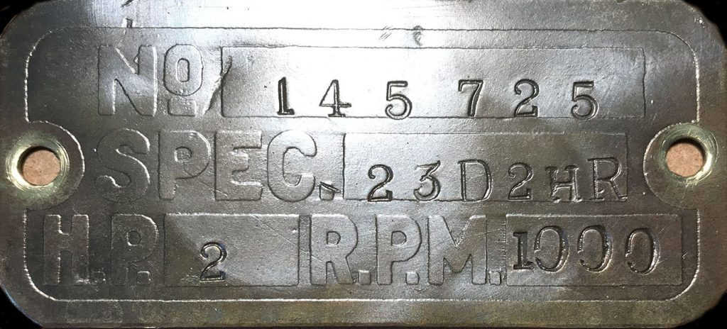 Lister D engine spec plate