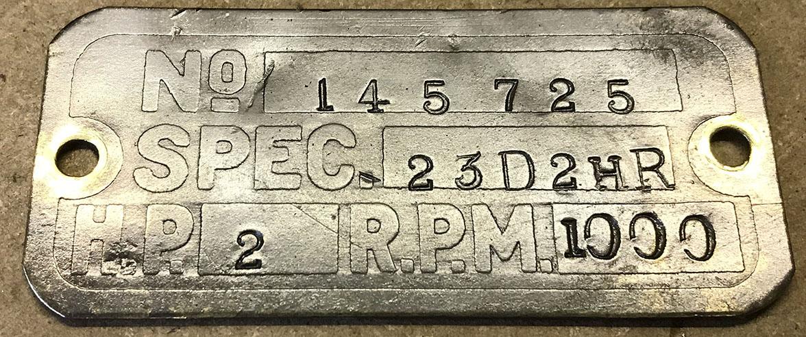 Lister D engine spec plate