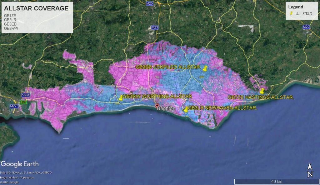 GB7ZE,GB3LR,GB3EB,GB3RW,ALLSTAR Coverage Map