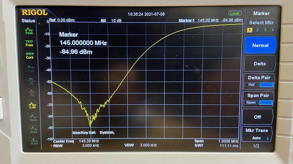 spectrum analyser plots GB3RW repeater.